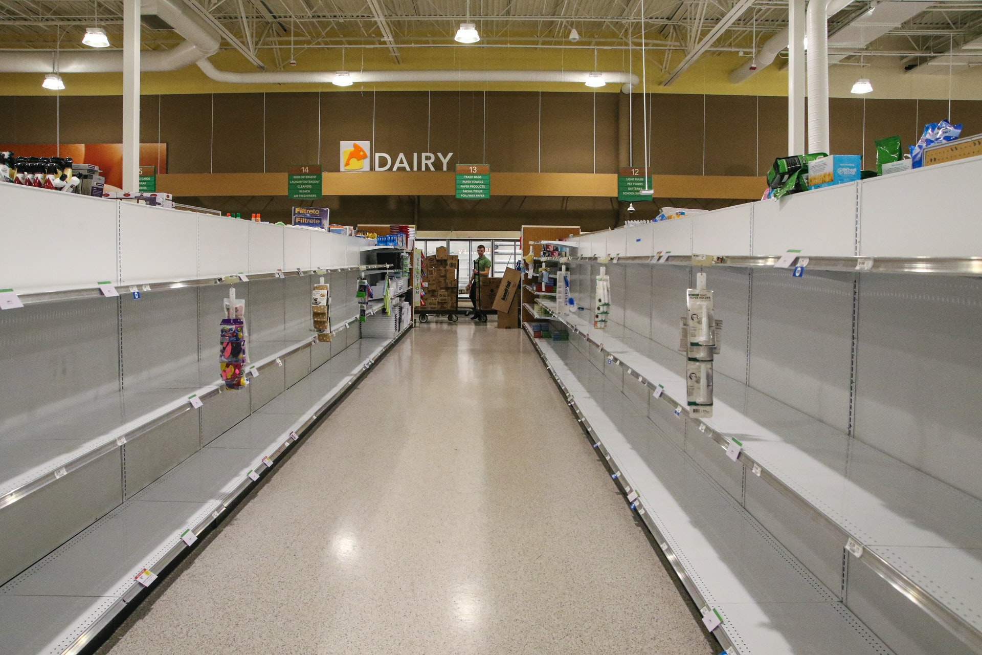 Empty store shelves, security in 2020
